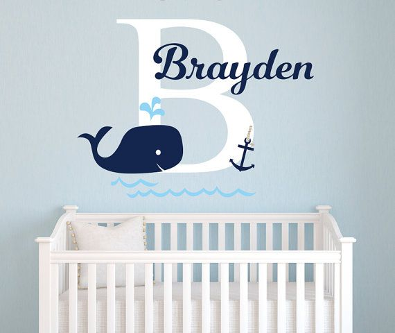 Name Wall Decal Whale Nautical Baby Room Decor Anchor Nursery Decals Vinyl