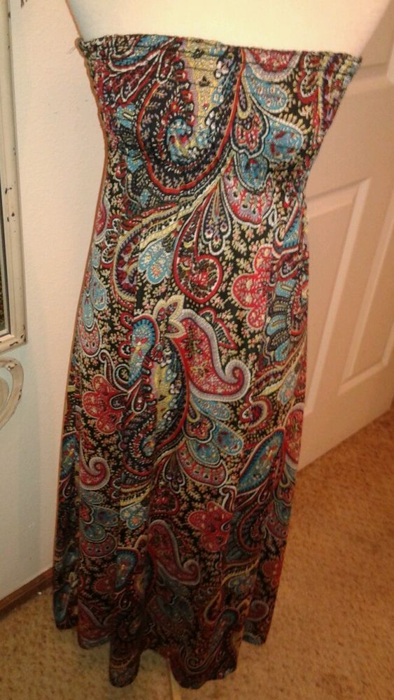 POETRY Ladies Tube top Maxi Dress Multi-color Paisley SZ L #Poetry #Maxi #Casual