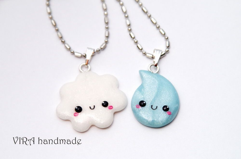 cute best friend jewelry kawaii cloud and rain drop best