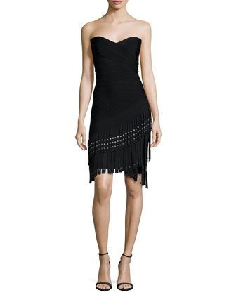 Strapless+Fringe+Bandage+Dress,+Black+by+Herve+Leger+at+Neiman+Marcus.