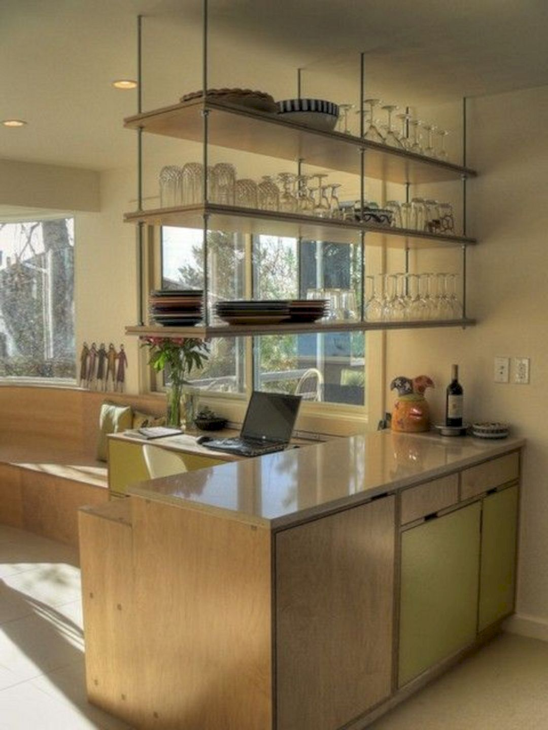 35 Marvelous Kitchen Cabinets Hanging From Ceiling For Your Beautiful Kitchen Hanging Kitchen Cabinets Hanging Shelf Kitchen Beautiful Kitchens