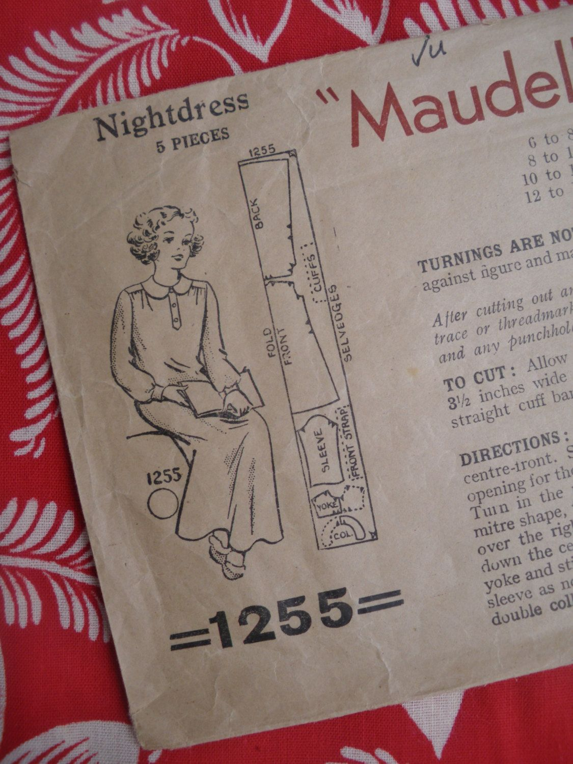 Vintage Sewing Pattern 1930s 1940s Girls Nightdress Nightgown 10