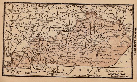 RARE Size KENTUCKY Map of Kentucky State Map by plaindealing ...
