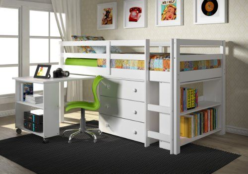 Captain Twin Loft Bed W Chest And Roll Out Desk White Finish
