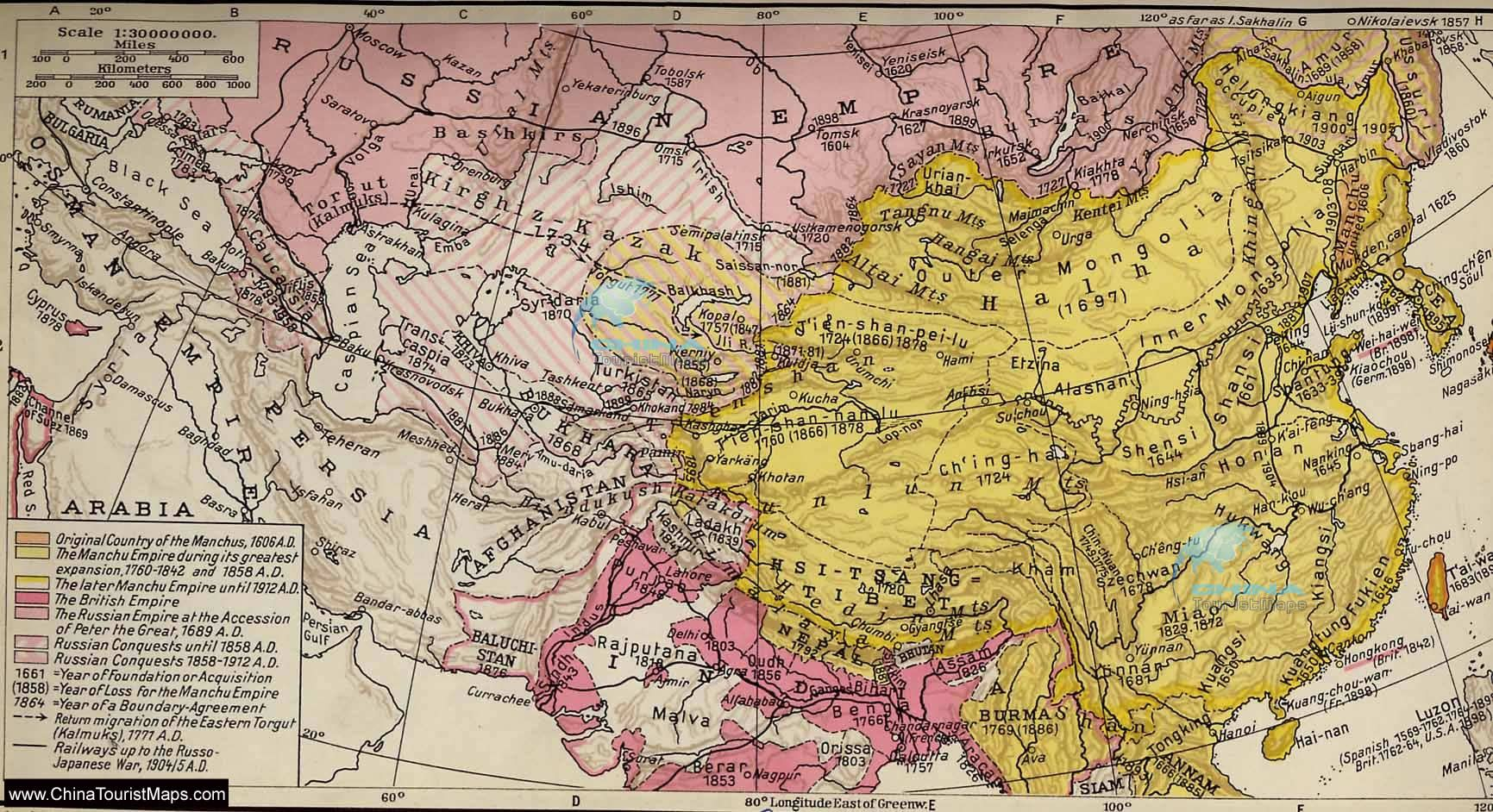Political Map Of Senegal%0A Map of the Qing  Manchu  Dynasty       AD      AD