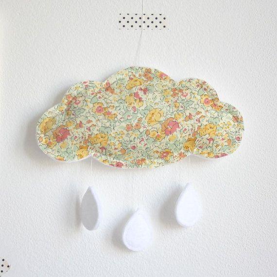Cloud Baby Crib Mobile - Liberty London Yellow Peach
