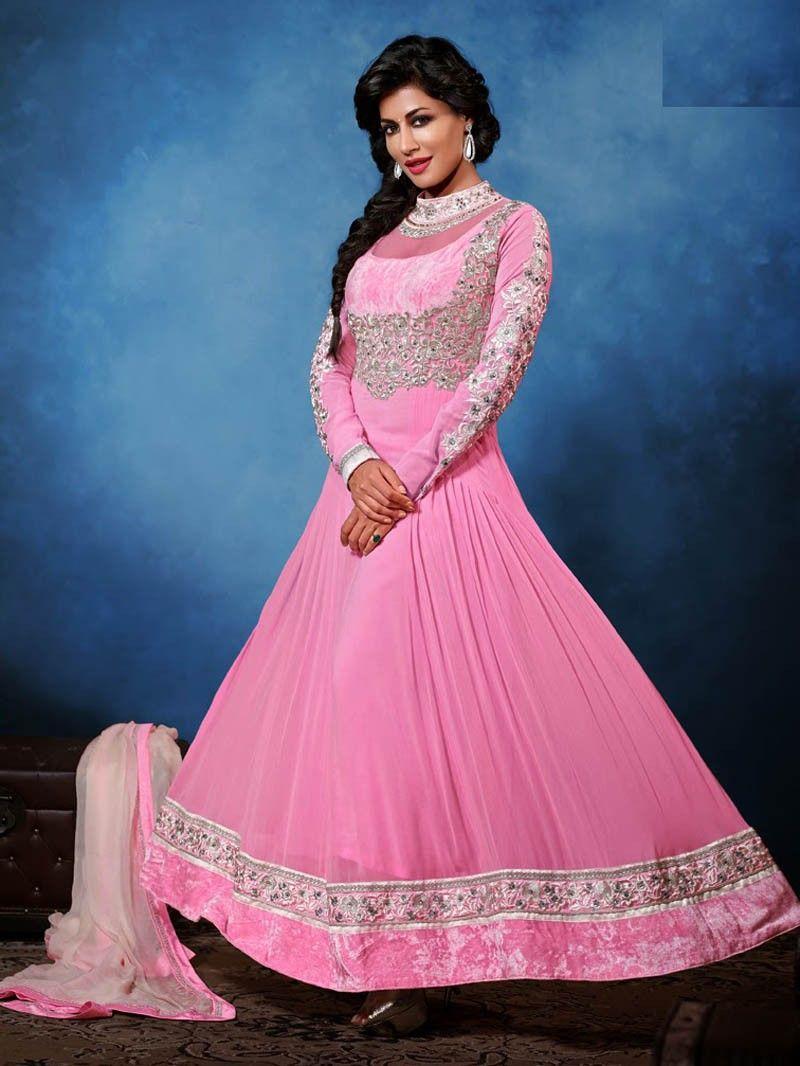 Pink designer Anarkali Salwar Kameez Suit with Long Dress ...