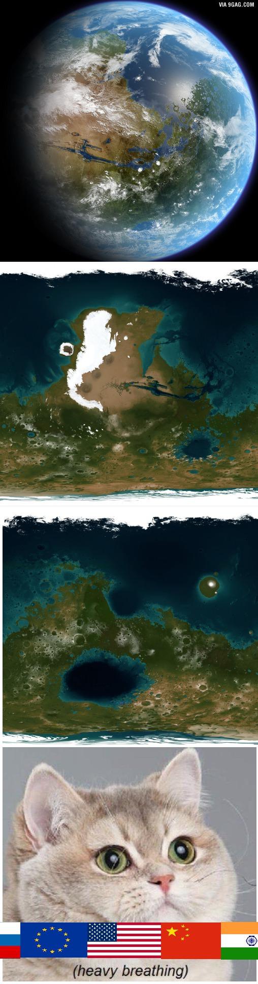 Mars, water + atmosphere.