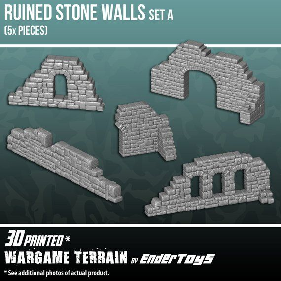 Ruined Stone Walls Set A, Terrain Scenery for Tabl