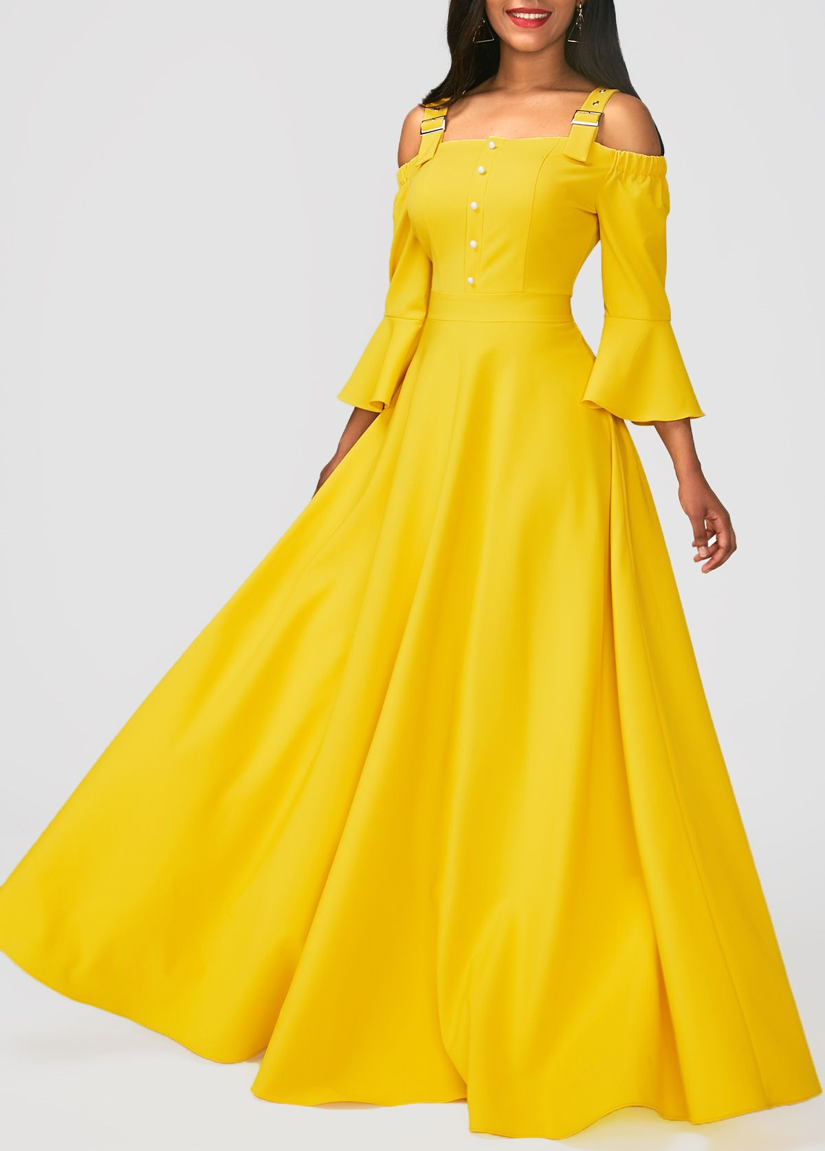 Wide strap flare sleeve yellow maxi dress odejda pinterest
