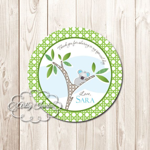 Koala bear boy baby shower favor sticker by artsyinvites on etsy