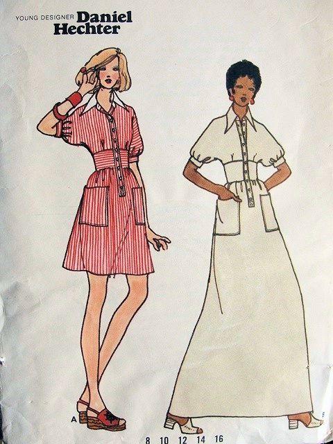 1960s MOD DANIEL HECHTER MIDRIFF DRESS PATTERN BUTTERICK 3104 ...