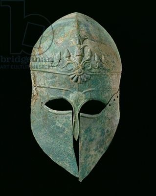 Corinthian Helmet, c.495 BC (bronze), Greek, (5th century BC) / Museum of Fine Arts, Houston, Texas, USA / Museum Purchase funded by 'One Great Night in November 2000' / The Bridgeman Art Library