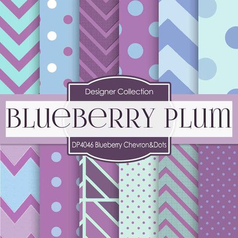 Blueberry Plum Chevron And Dots Digital Paper DP4046 - Digital Paper Shop - 1