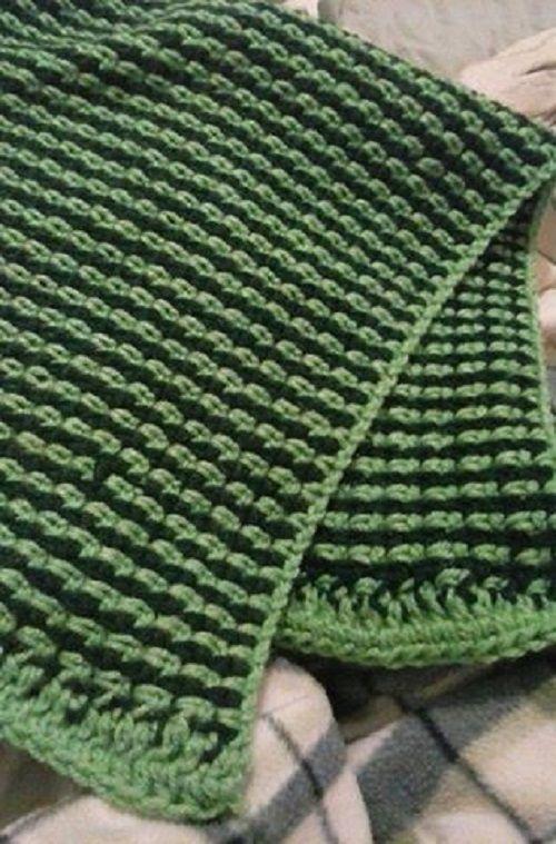 Two Color Easy Afghan Crochet Pattern | Manta, Cobija y Tejido