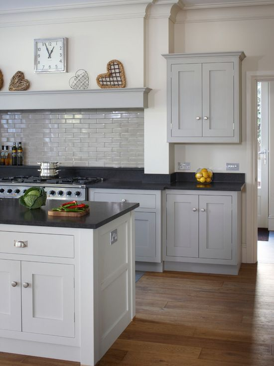dark modern country kitchen. Modern Shaker Kitchen  Bespoke Cabinets Hand Painted In Little Greene French Grey Dark Medium Light Country