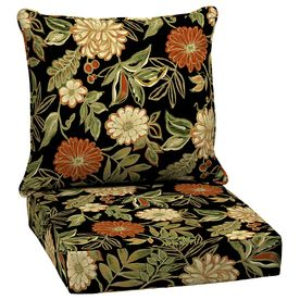 Shop Arden Outdoor Floral Black Deep Seat Patio Chair Cushion At