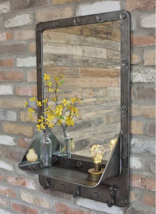 Retro Industrial Metal Wall Mirror Shelf Unit (54 x 20 x 85cm)