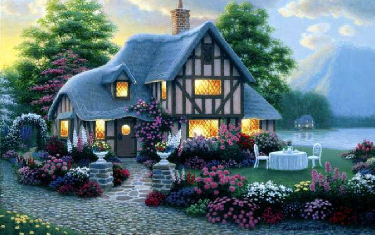 Haus Licht Garten Blumen Meer Hintergrundbilder Bilder Haus Malen Susse Hutte