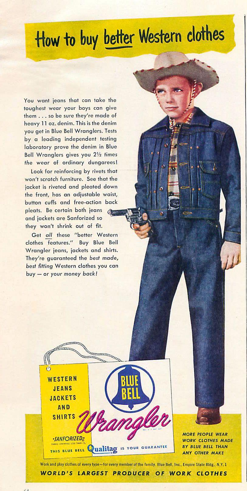8b44066cb Vintage Magazine -Children Ads - Wrangler Blue Bell from Today's ...