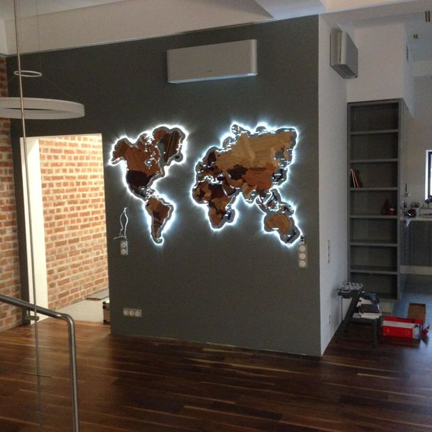 Wooden World Map Lights, Room and Interiors - broken design holzmobel
