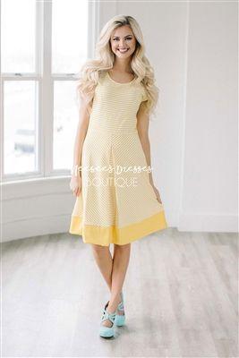 7a2caa8bb1 Yellow White Stripe Spring Modest Church Dress, Church Dresses, dresses for  church, modest bridesmaids dresses, trendy modest dresses, modest womens ...