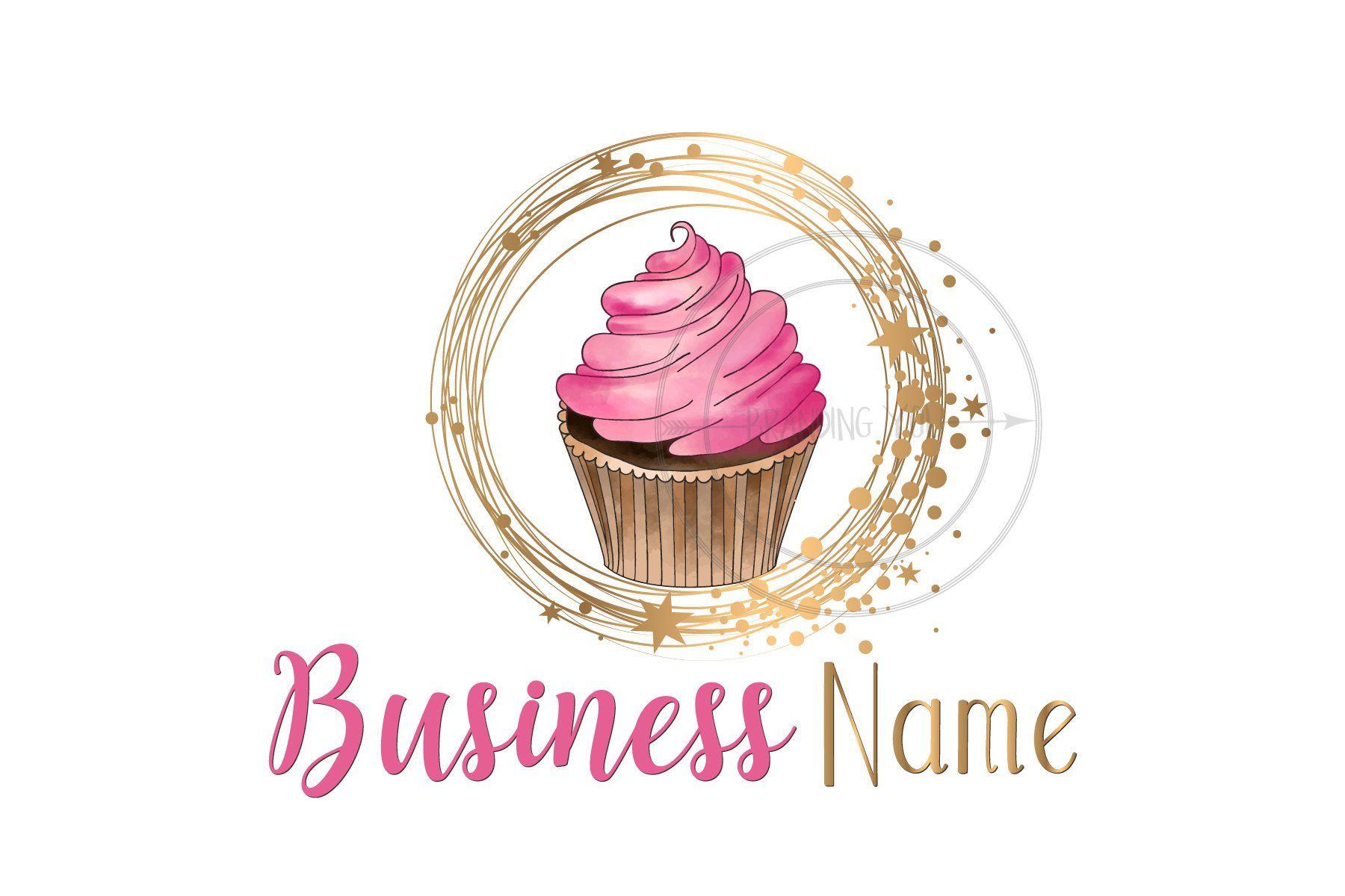 Cupcake Logo Watercolor Custom Logo Design Watercolor Pink Logo