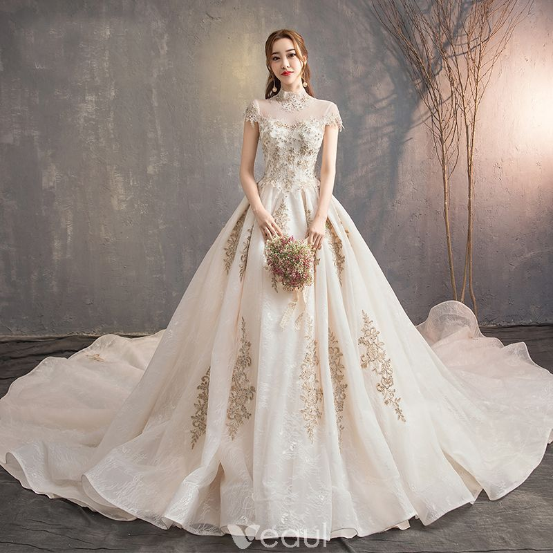 779ed5e3fe Vintage   Retro Chinese style Champagne Wedding Dresses 2019 A-Line    Princess High Neck Lace Flower Cap Sleeves Backless Royal Train
