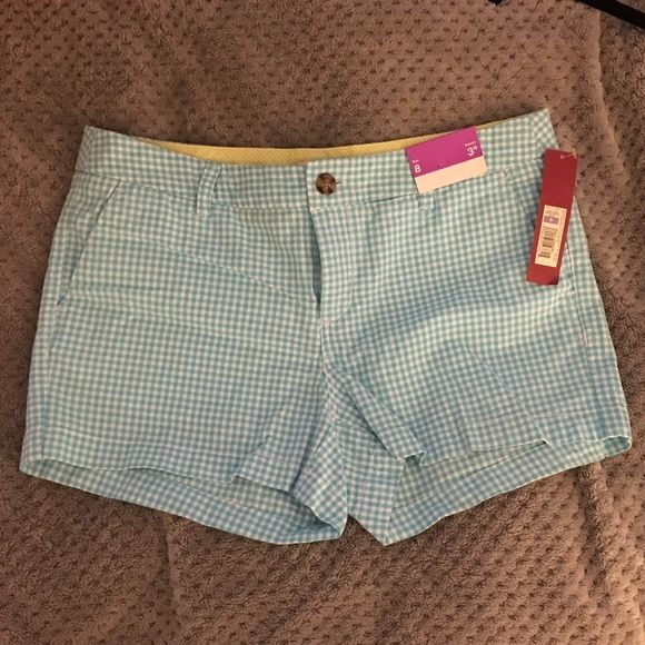 Light blue and white checkered shorts