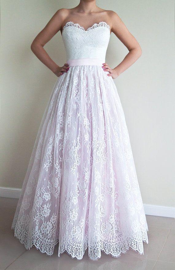 Strapless Wedding Dress A-line Lace Wedding Dress by PolinaIvanova