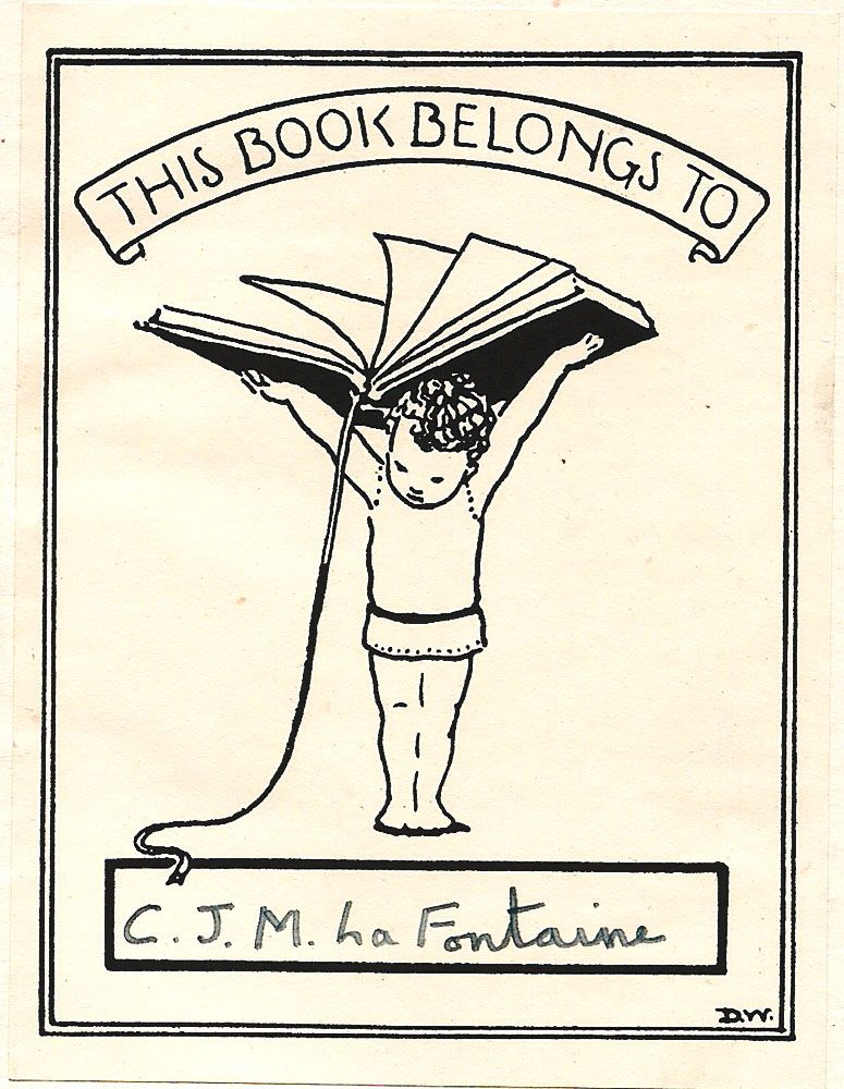 Universal bookplate by DW. Ca 1943