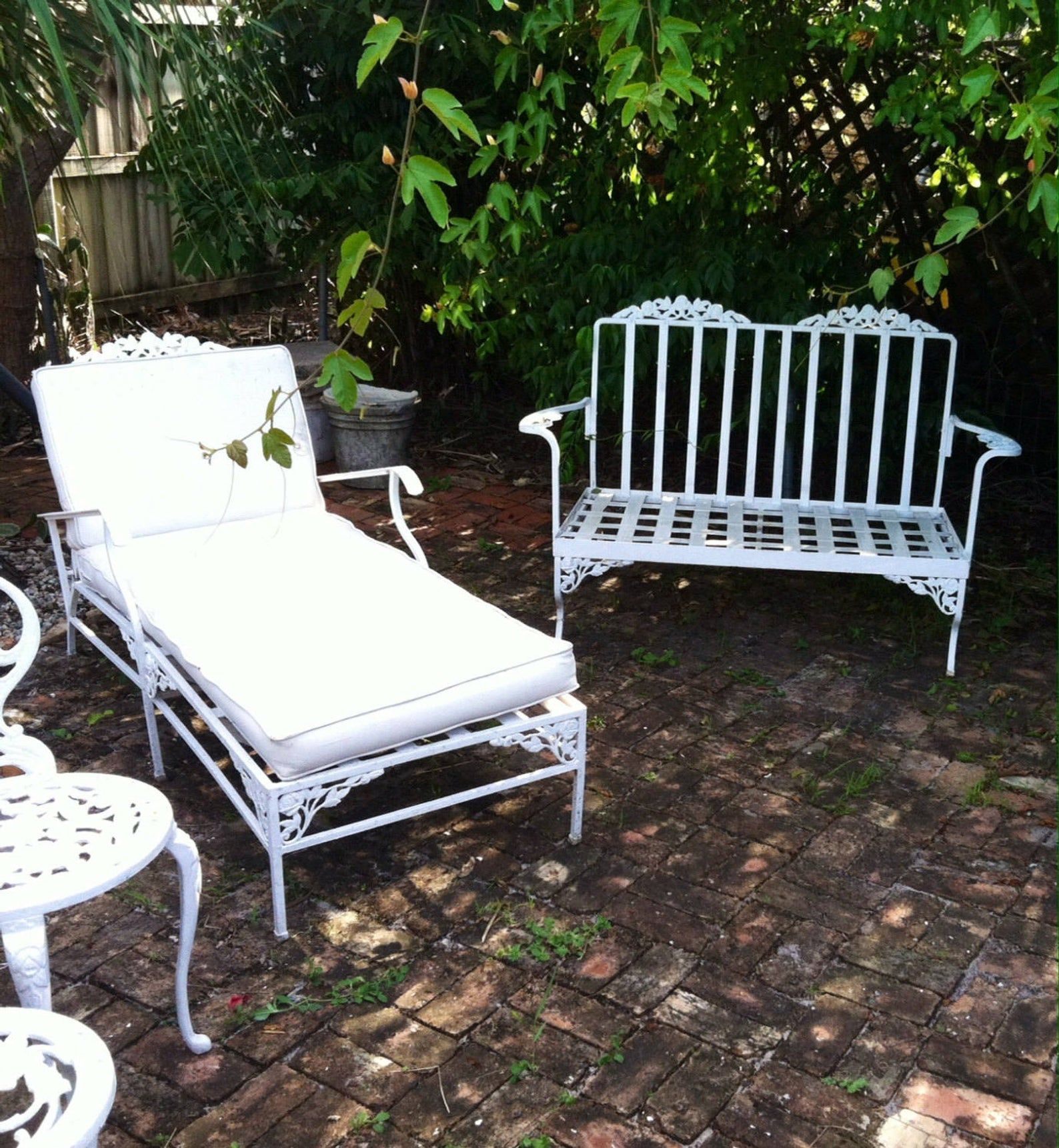 Vintage outdoor furniture seating set paired garden patio ...