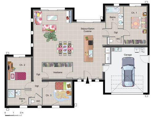 Maison contemporaine de plain pied plain pied maisons for Plan maison moderne 110m2
