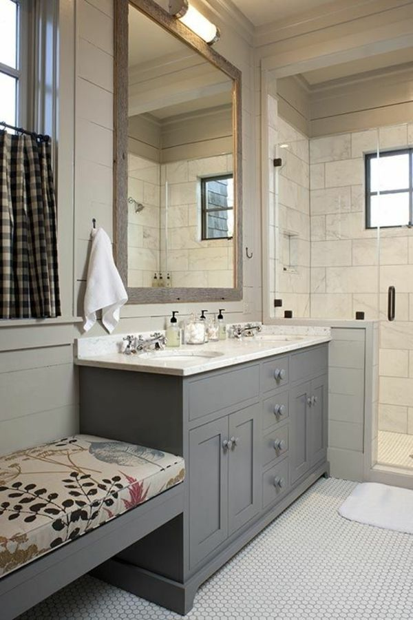 Farmhouse Style Bathroom With Walk In Shower   Love The Built In Bench!