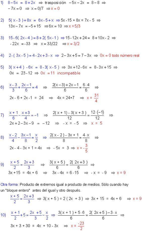 Ecuaciones Primer Grado Primeros Grados Ecuaciones Fórmulas De álgebra