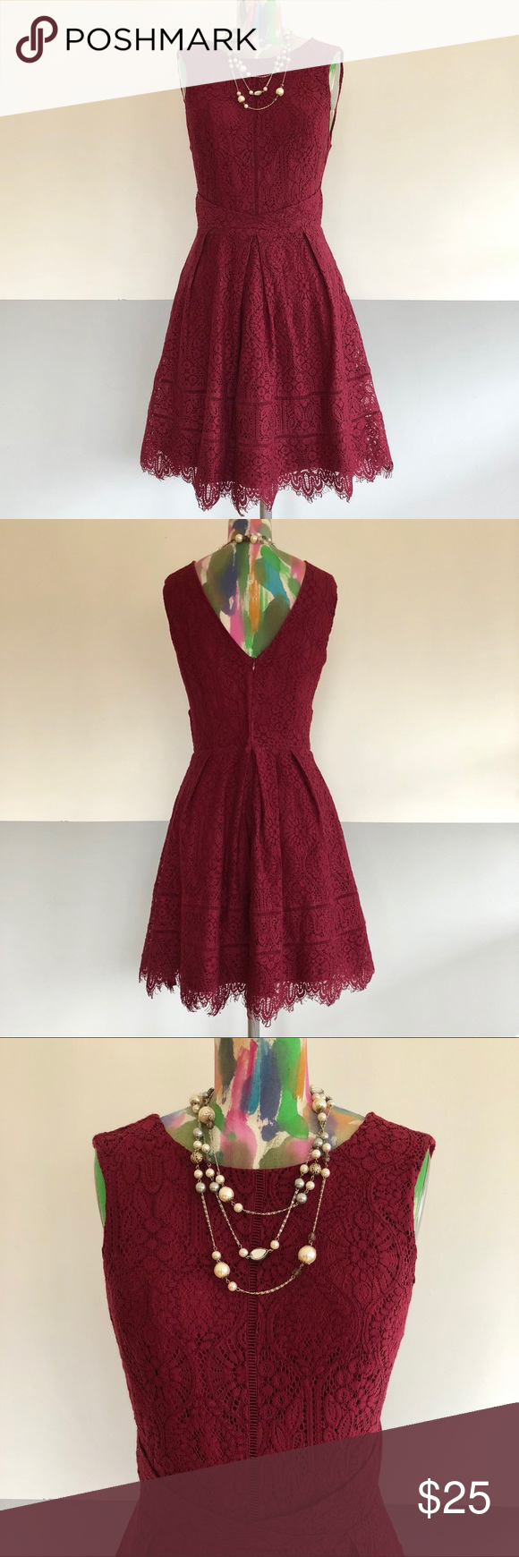 Adelyn Rae Burgundy Lace Dress Lace Burgundy Dress Fit