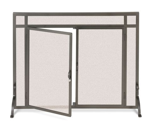 Pilgrim 44 Inch X 33 Inch Forged Iron Fireplace Screen With Straight Doors    Burnished Bronze