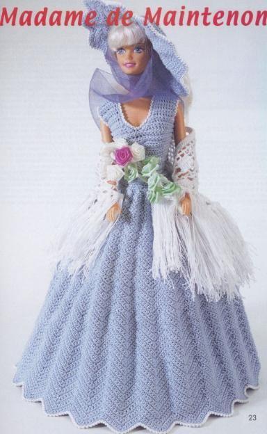 labores de esther. todo para barbie: Vestido largo para barbie