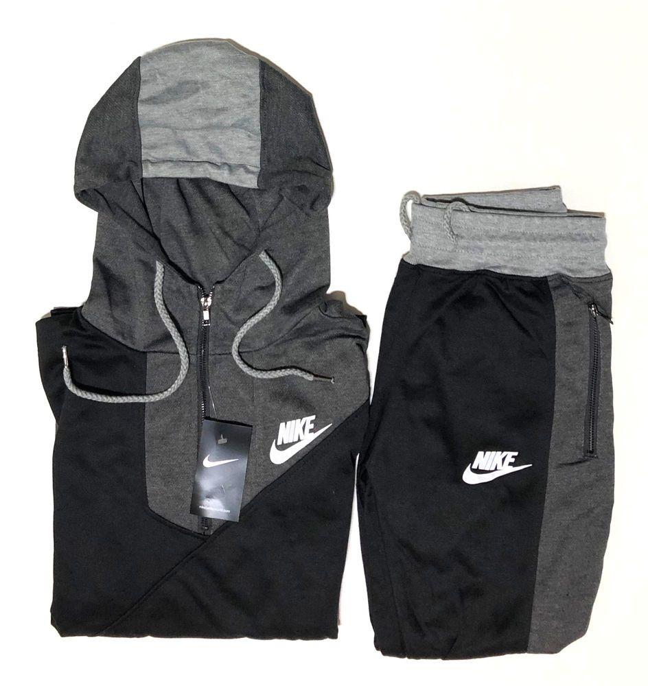 b98558b4 fashion Nike Men's Sweat Suit Brand New Gray Full Zip Hoodie + ...
