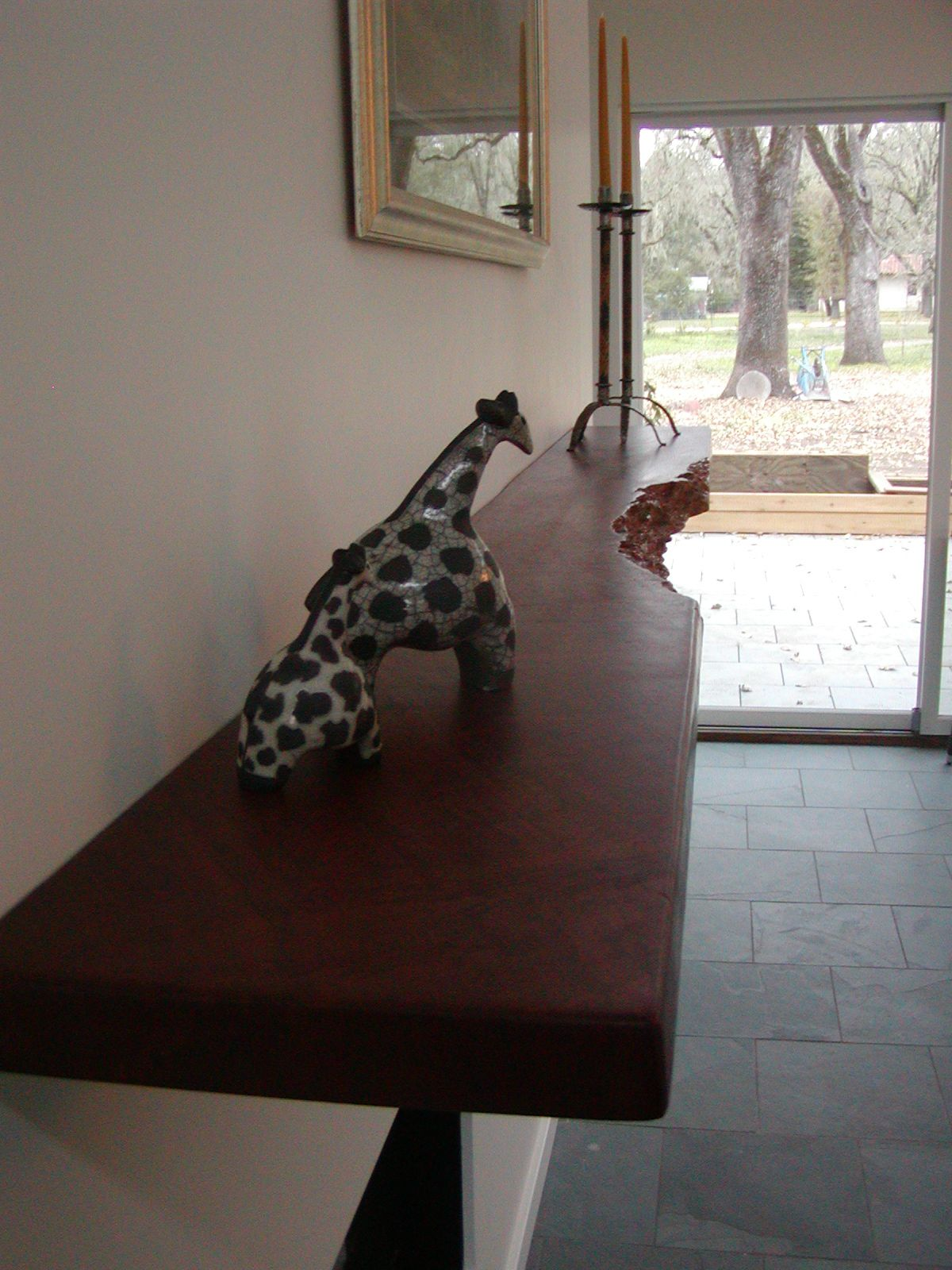 desk fireplace decoration on Oil Finish On A Red Gum Live Edge Mantel Fireplace Mantels Hand Hewn Beams Mantel