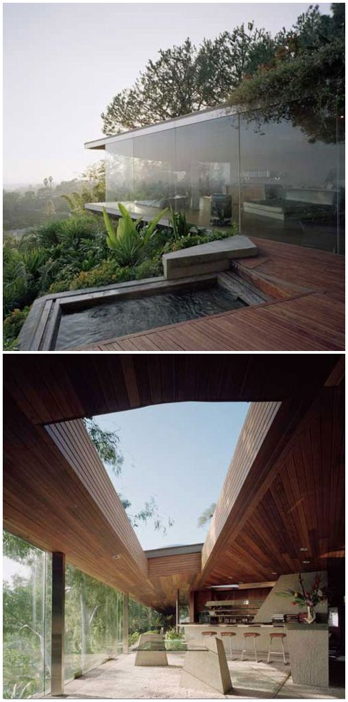Glass Wall Home in the Hollywood Hills Glass wall home in the Hollywood Hills by architect John Lautner blends beautifully into its surroundings.