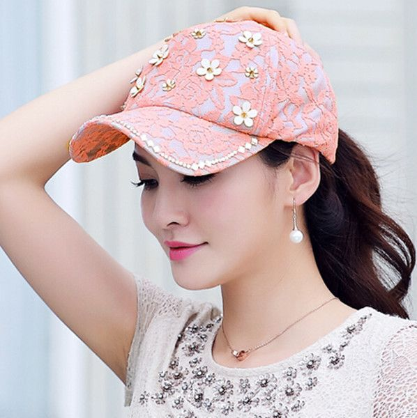Summer outdoor lace baseball caps for girls with rivet flower sun ... f4cb1673c53
