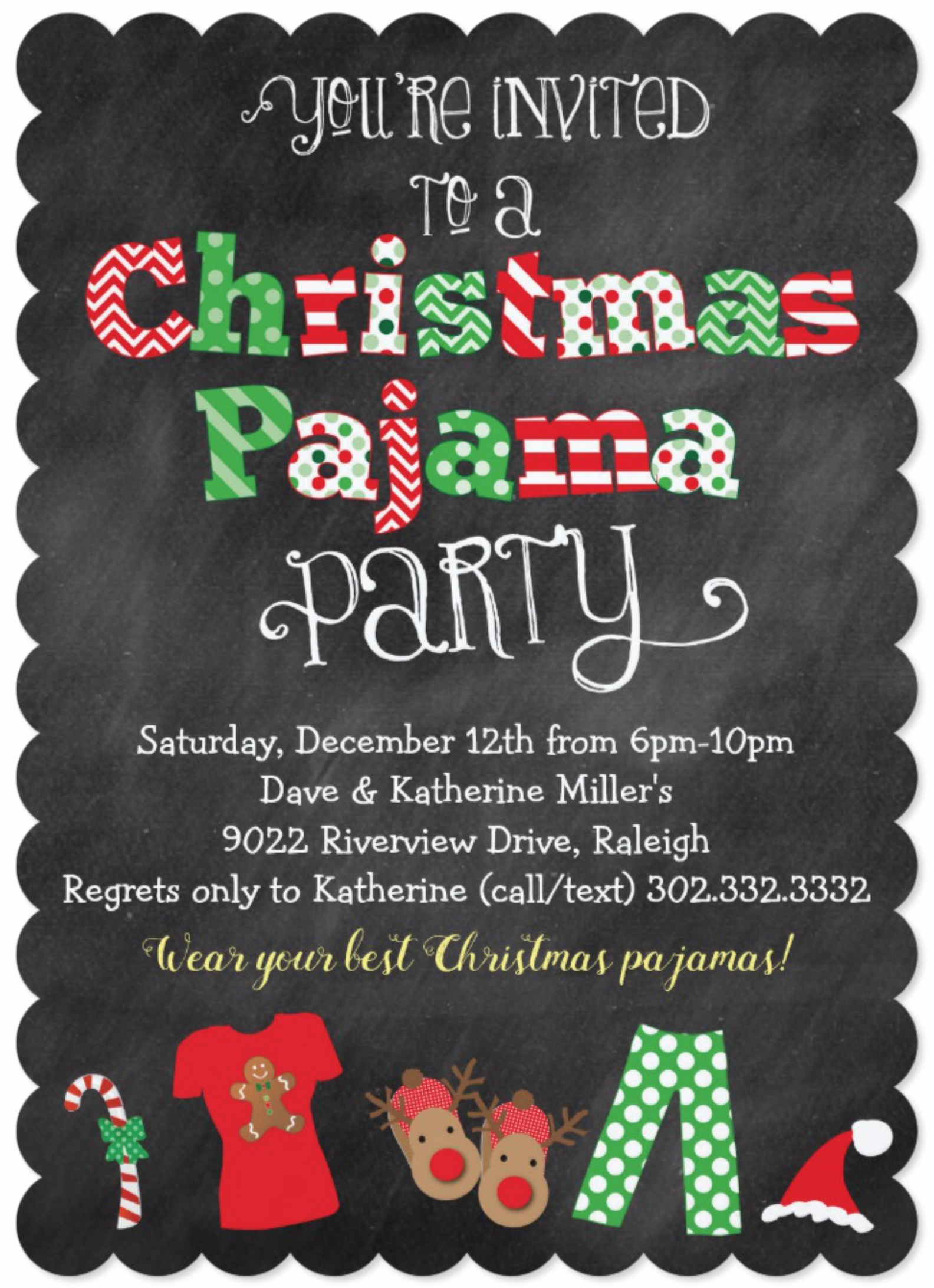 8eb55af754 Christmas Pajama Party Chalkboard Invitation This fun and festive Christmas  Pajama Party chalkboard style invitation is perfect for any Christmas pajama  ...