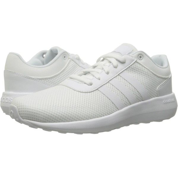adidas Cloudfoam Race (Running White/Running White/Running White)... ($50)  ❤ liked on Polyvore featuring men's fashion, men's shoes, men's sneakers,  white, ...