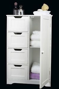 White Wooden Storage Cabinet Four Drawers Door Bathroom Bedroom Freestanding