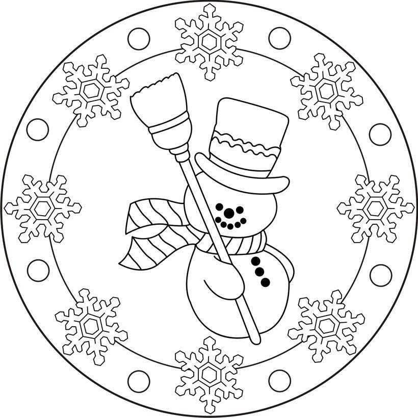 mandala bonhomme de neige noel à imprimer  ausmalbilder