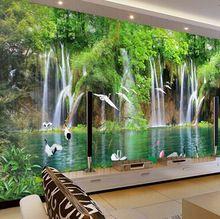 großhandel wasserfall kran landschaft chinesischen stil wand 3d, Wohnzimmer