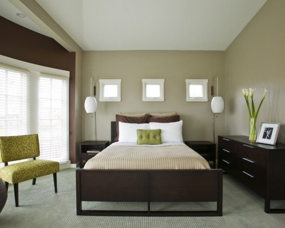Delightful Brown Interior Design Ideafor Bedroom With Light Brown Wall With White Window Brown Furniture Bedroom Green Bedroom Design Modern Bedroom Furniture