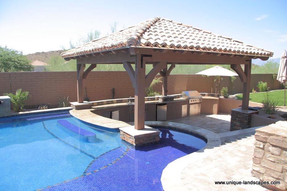 Pool Bar By Outdoor Kitchen BBQ Bench Seat