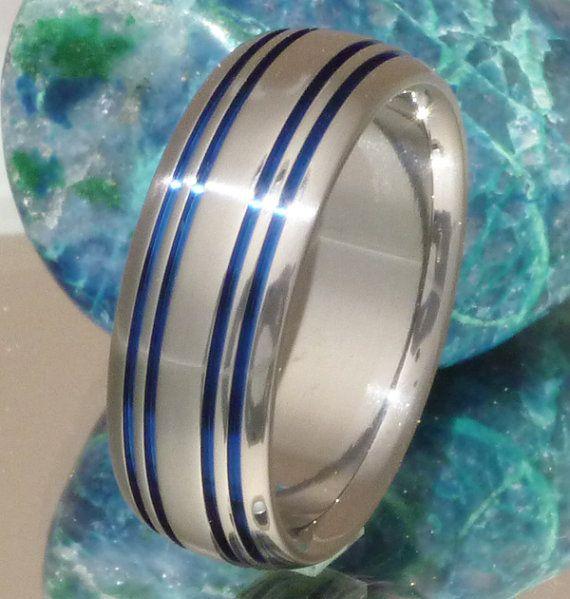 Thin Blue Line Titanium Wedding Band  b15 by TitaniumRingsStudio